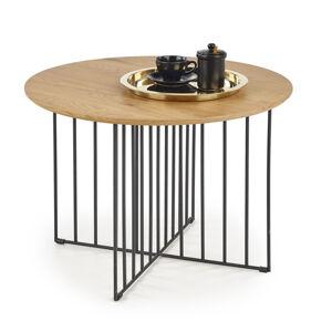 HALMAR Zara okrúhly konferenčný stolík dub zlatý / čierna